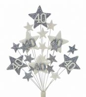 Star age 40th birthday cake topper decoration in silver and white - free postage